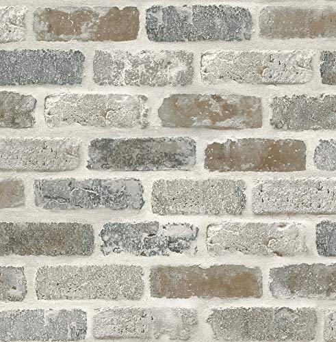 Washed Faux Brick Wallpaper Peel & Stick GW1003 White/Gray/Brown