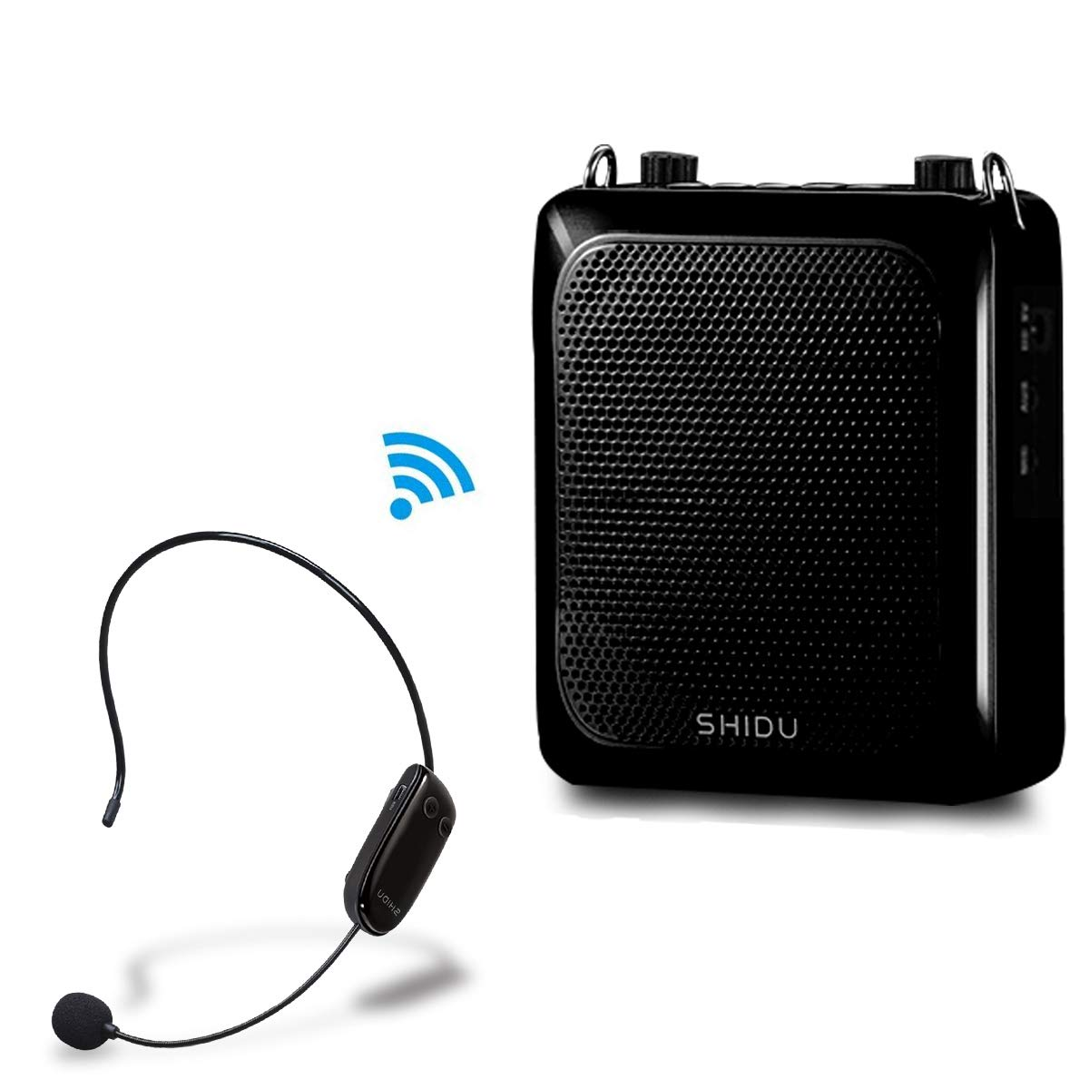 Bluetooth Voice Amplifier with Wireless Microphone Headset, 25W (4000mAh) Echo Effect Loudspeaker Amplifier Personal Pa System Portable Megaphone for Teachers, Elderly, Tour Guides, Presentations Etc.