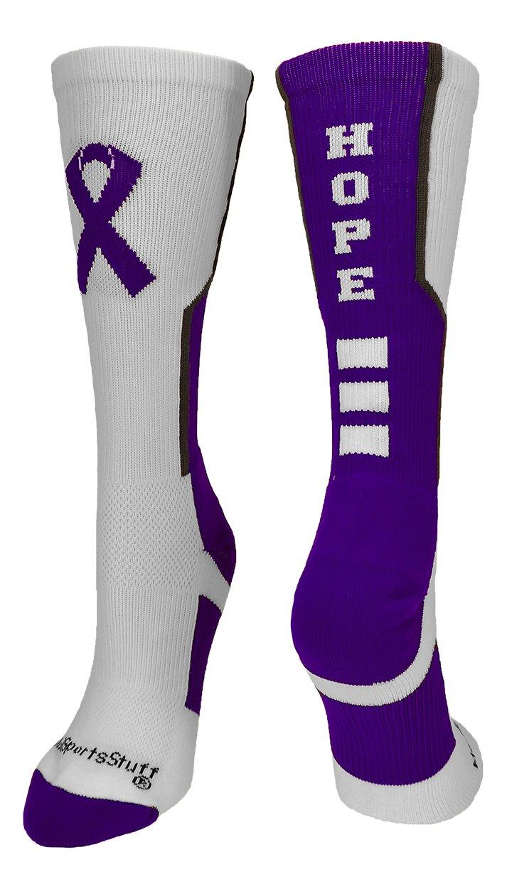 MadSportsStuff Relay Life Hope Crew Socks (White/Purple/Graphite, X-Large)