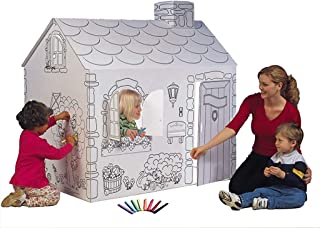 """product image for My Very Own House Cardboard Coloring Playhouse Cottage, 49""""H x 36""""L x 55""""W"""