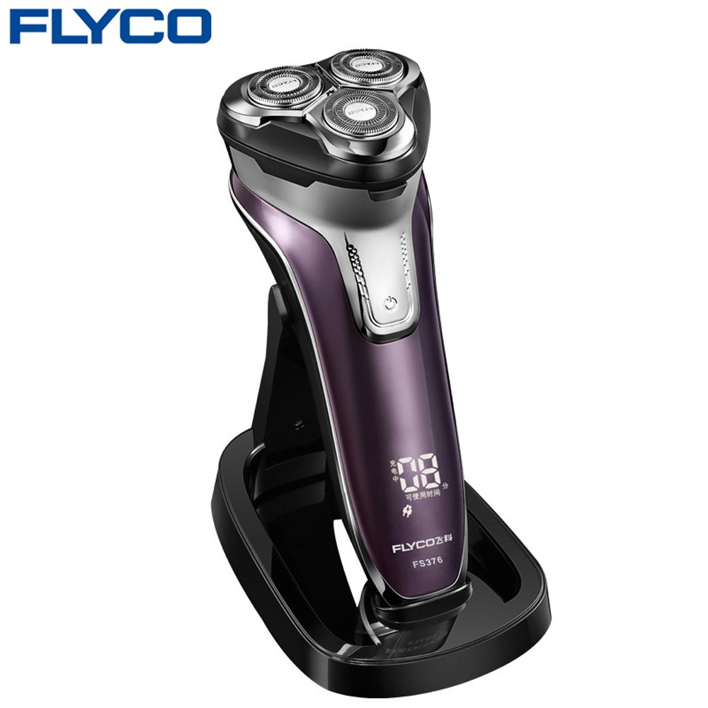 Flyco FS376 Wet & Dry Electric Shaver for Men with Charging Stand, Pop Up Trimmer and IPX7 Waterproof Travel Case, Dark Violet