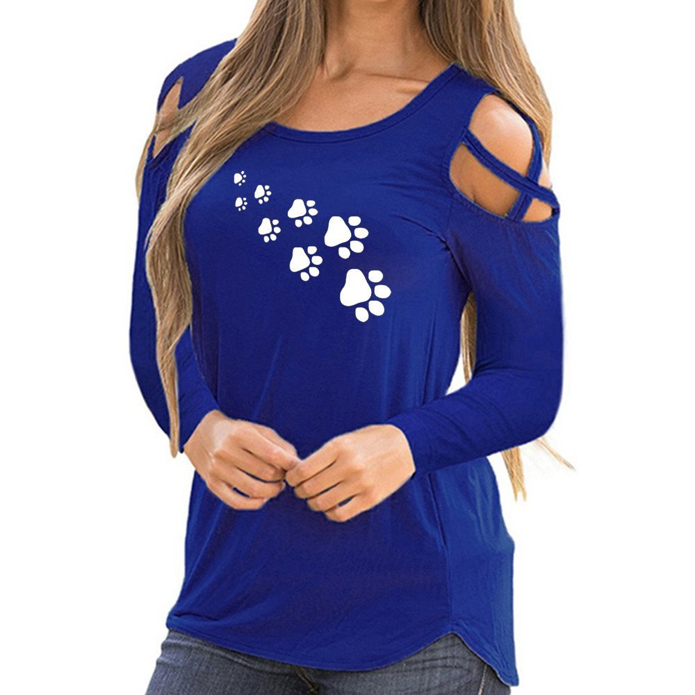 Blouses For Womens,Clearance Sale!!Farjing Women Summer Long Sleeve Print Strappy Cold Shoulder T-Shirt Tops (2XL,Blue)