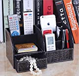 Multifunctional PU Leather Office Desk Organizer Stationery Storage Box Collection with 7 Storage Compartments (Croco stripe)