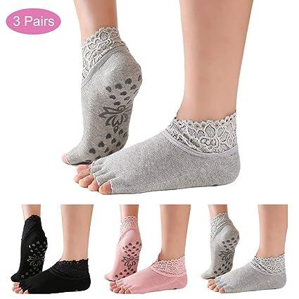 JJunLiM Calcetines de Yoga para Mujeres Calcetines ...