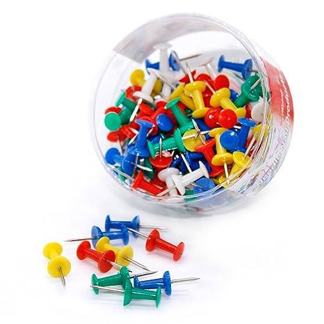 e716b72684 Amzbarley 100 pezzi colorati con puntine, puntine con testa in plastica con  appuntita in acciaio