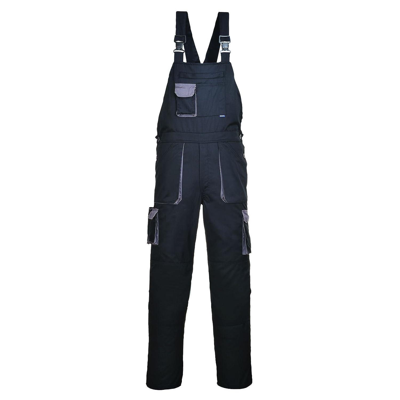 HS-Distributors Men's Workwear Painters Bib & Brace Dungarees Knee Pad Pockets Elastic Back Trousers