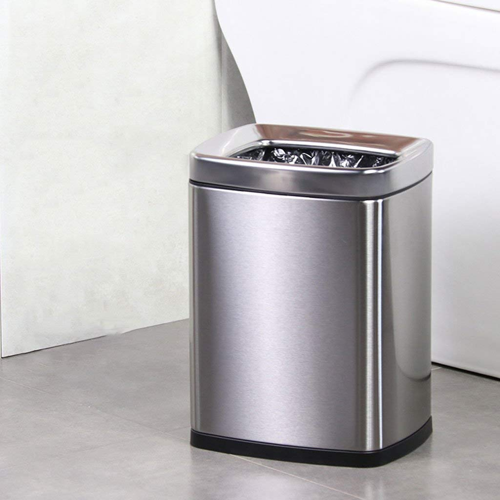 JJD コンテナ圧力リングカバーなし長方形のステンレス鋼ゴミ家の居間大きなキッチン浴室寝室 (Color : Silver, サイズ : 6L) B07SBYH12H Silver 6L