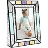 J Devlin Pic 372-46V Colorful Stained Glass Picture Frame Tabletop 4 x 6 Photo Aqua Blue Peach Purple