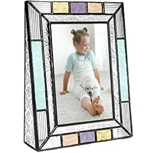 Colorful Glass Picture Frames Vertical 4x6 Photo Table Top Blue Peach Purple Turquoise Home Decor Family Baby Gift J Devlin Pic 372-46V