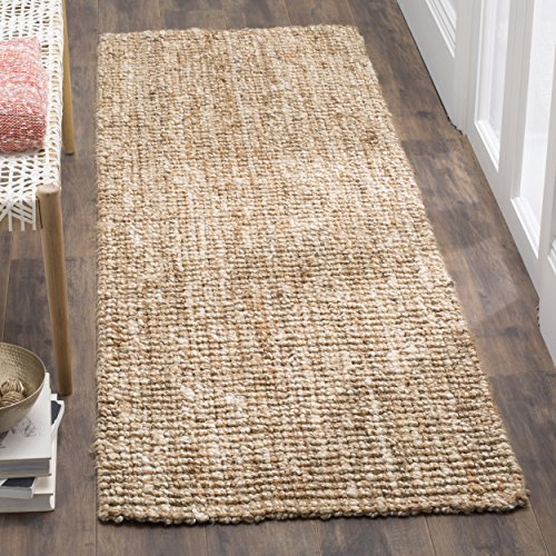 Safavieh Natural Fiber Collection NF447N Hand Woven Natural and Ivory Jute Runner (2'6