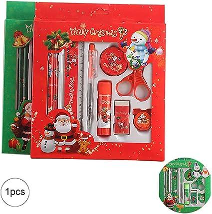Yisily 1 Pack Estudiante de Navidad Kit Empresa multifuncional de plástico Lápiz Regla Conjunto de papelería regalo fuentes de escuela lindo (color al azar): Amazon.es: Oficina y papelería