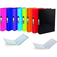 A4 2 Ring Binder File Folder Bright Colours Holds 190 Sheets 25 mm Spine - Assorted Pack of 5