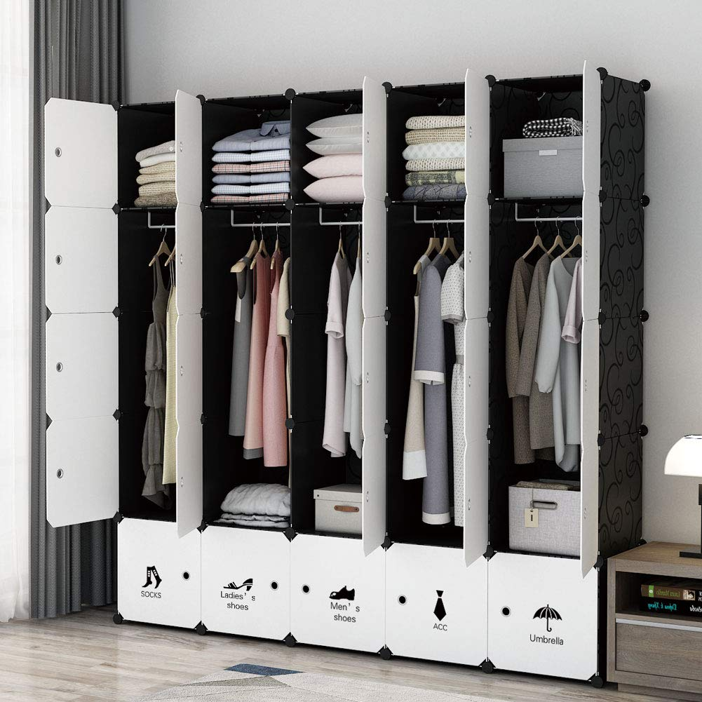 MAGINELS Portable Modular Wardrobe, Bedroom Armoire ,Hanging Clothes Closet Storage Organizer ,Cubby Shelving Unit Dresser ,Multifunction Cabinet DIY Furniture (10 Cubes & 5 Hanging Sections)
