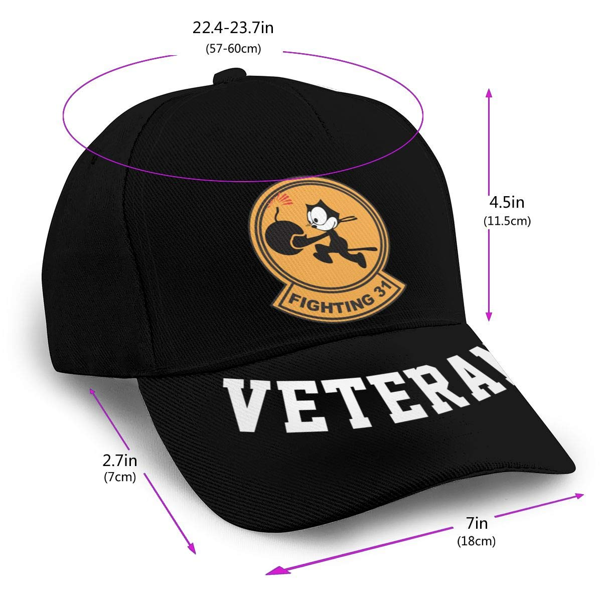 VF-31 Fighting Baseball Cap Dad Hat Unisex Classic Sports Hat Peaked Cap Veteran Hat