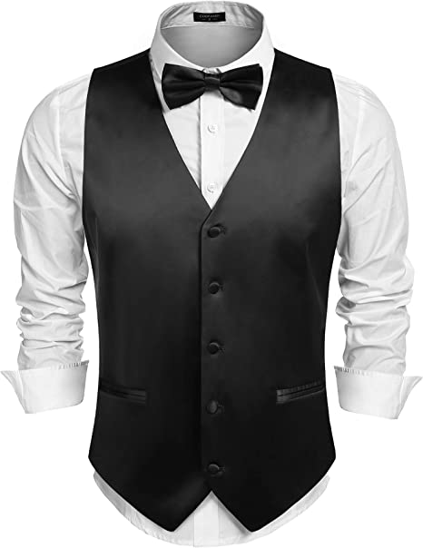 JINIDU Mens 3pc Business Satin Suit Vest Set Bowtie Hanky Wedding Waistcoat Jacket