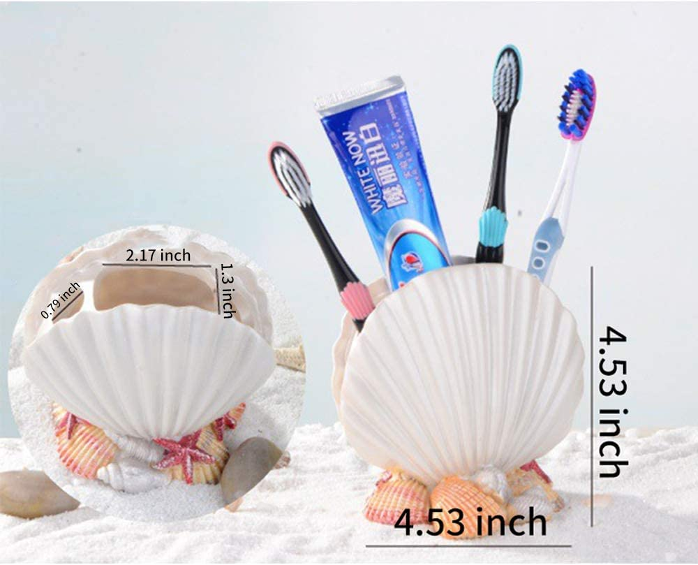Toothbrush and Toothpaste Store for Decoration Make-up Brushes Bathroom Organizers and Storage for Pen Andiker Multifunctional Sea Shell Toothbrush Holder