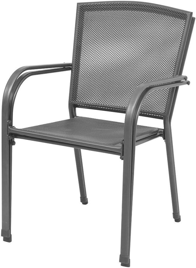 Sedie da Pranzo Impilabili per Esterni 2 pz Rete d/'Acciaio Nera P6R5