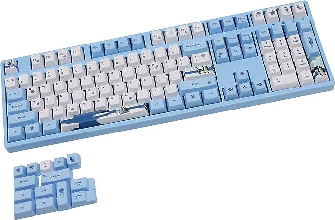 Juego Completo de 104 PBT Keycaps OEM para Teclado Mecánico de Juegos Teclas MX ANSI de Sublimación Térmica (Pingüino)