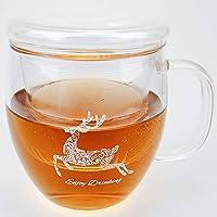 Taza de té de cristal grueso de 500 ml, taza de té transparente con tapa, café, taza de leche, filtración de agua de la…