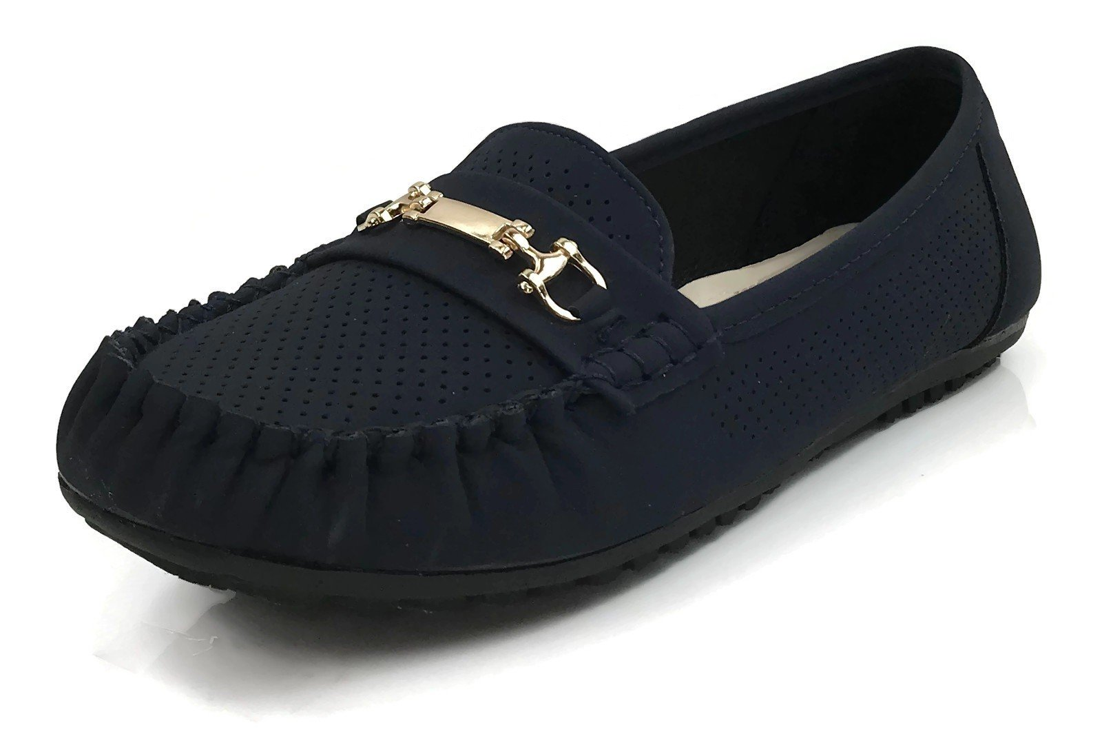 Wells Collection Womens Frannie Slip On Moccasin Loafer Comfort Flat, Navy 8.5