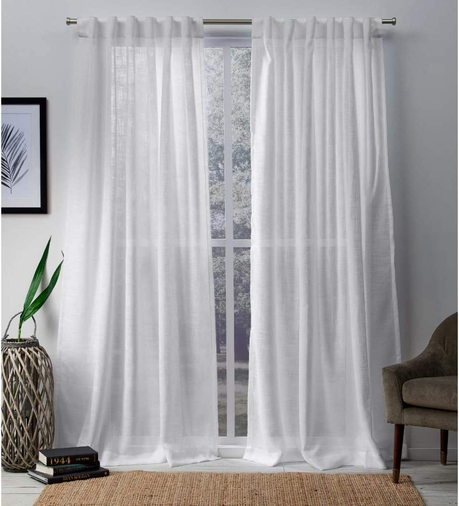 Exclusive Home Curtains Bella Window Curtain Panel Pair with Hidden Tab Top, 54x96, Winter White, 2 Count