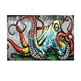 NYMB Cartoon Bath Rugs By, Colorful The Wall Graffiti Octopus, Non-Slip Doormat Floor Entryways Indoor Front Door Mat Bathroom Rugs Memory Foam, Kids Bath Mat, 15.7x23.6in
