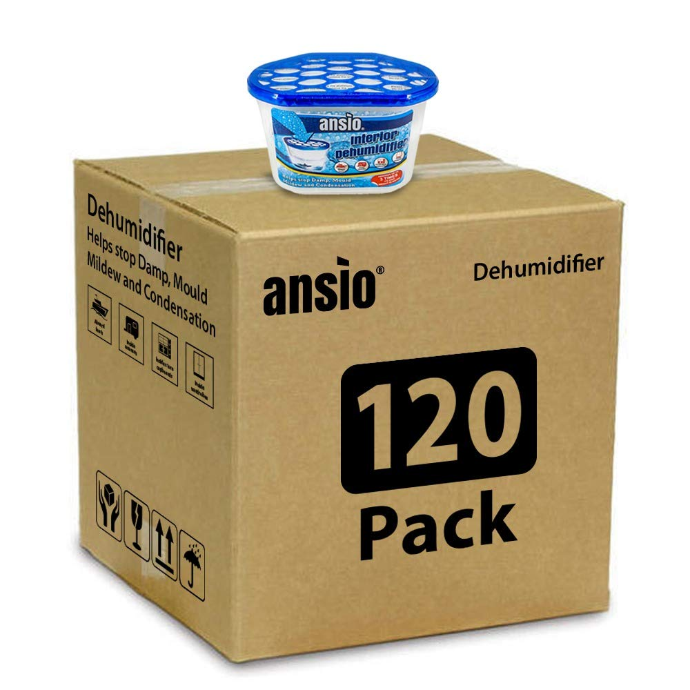ANSIO Interior Dehumidifier, Condensation Remover, Moisture Absorber, Dehumidifiers for Damp, Mould, Moisture in Home, Kitchen, Wardrobe, Bedroom, Caravan, Office, Garage, Bathroom, Basement 500 ml, Pack of 5 ANSIO 3016