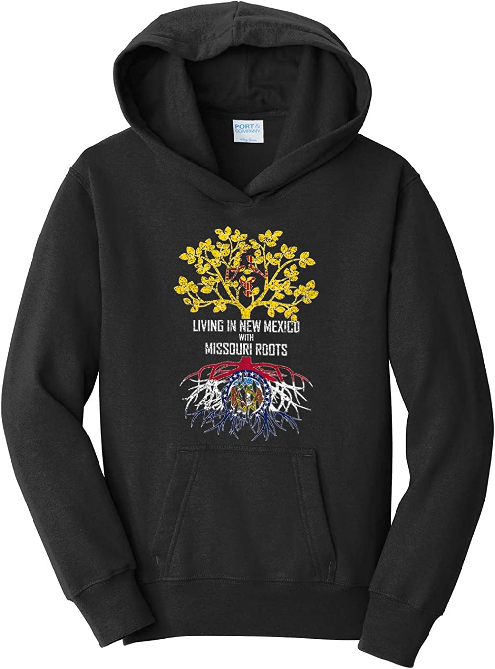 Tenacitee Girls Living in New Mexico with Missouri Roots Hooded Sweatshirt