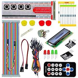 Tolako Starter Kit for Raspberry Pi B+ 2/3 Starter Kit GPIO Pinboard 1602LCD Flat Cable Remote Control