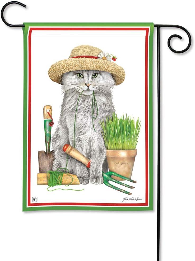 BreezeArt Studio M Garden Kitty Decorative Spring Summer Garden Flag – Premium Quality, 12.5 x 18 Inches