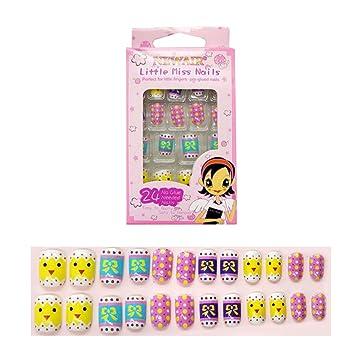 Tokkids 24 pcs uñas postizas para niñas, pre-pegado (chic ...