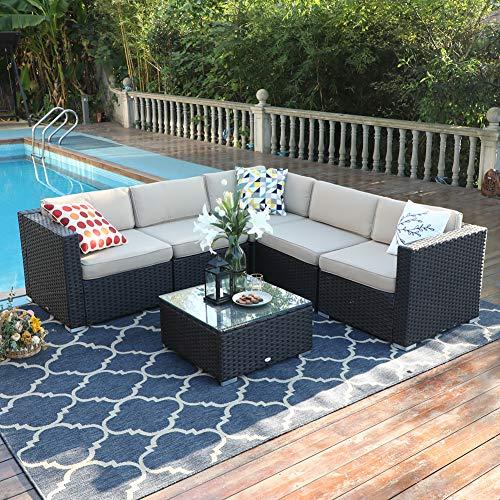 PHI VILLA Outdoor Rattan Sectional Sofa- Patio Wicker Furniture Set (6-Piece, Beige) (Sectional Outdoor Furniture Ikea)