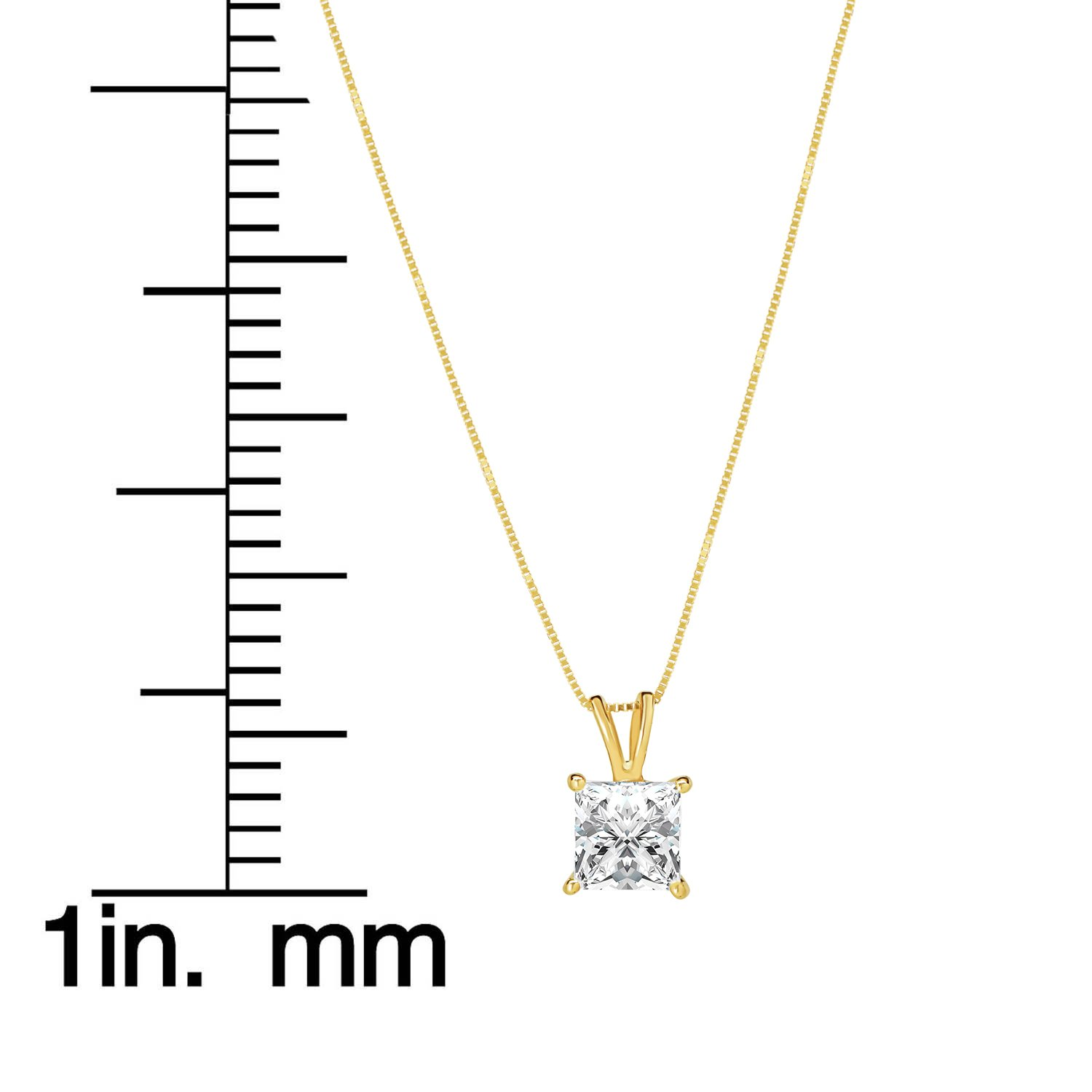 14K Solid Yellow Gold Princess Cut Cubic Zirconia Solitaire Pendant Necklace (2 Carat), 16 inch .50mm Box Link Chain, Gift Box by Everyday Elegance Jewelry (Image #6)