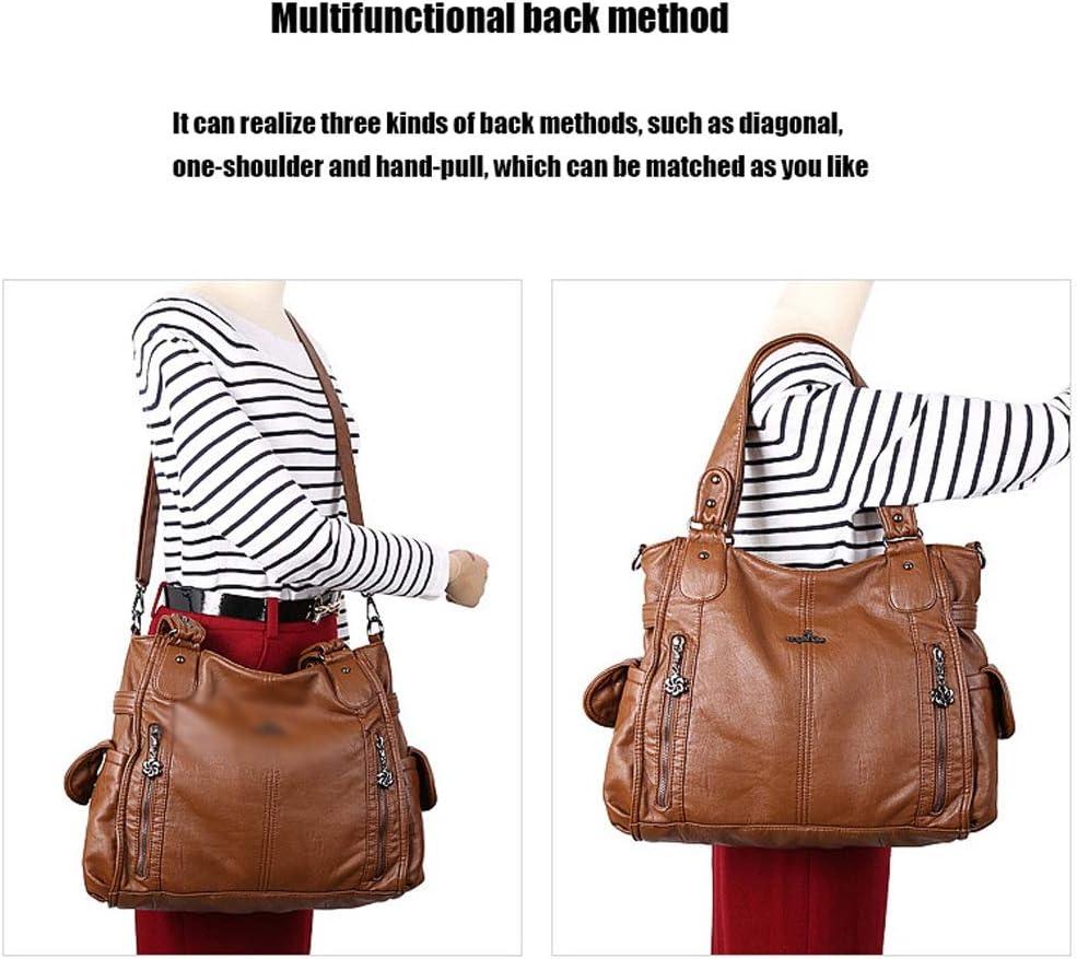 Ysswjzz Borsa for le donne, moda PU borsetta di pelle Large Shoulder Bag Tote Bag for le signore lavoro quotidiano Usa con (Color : N) D