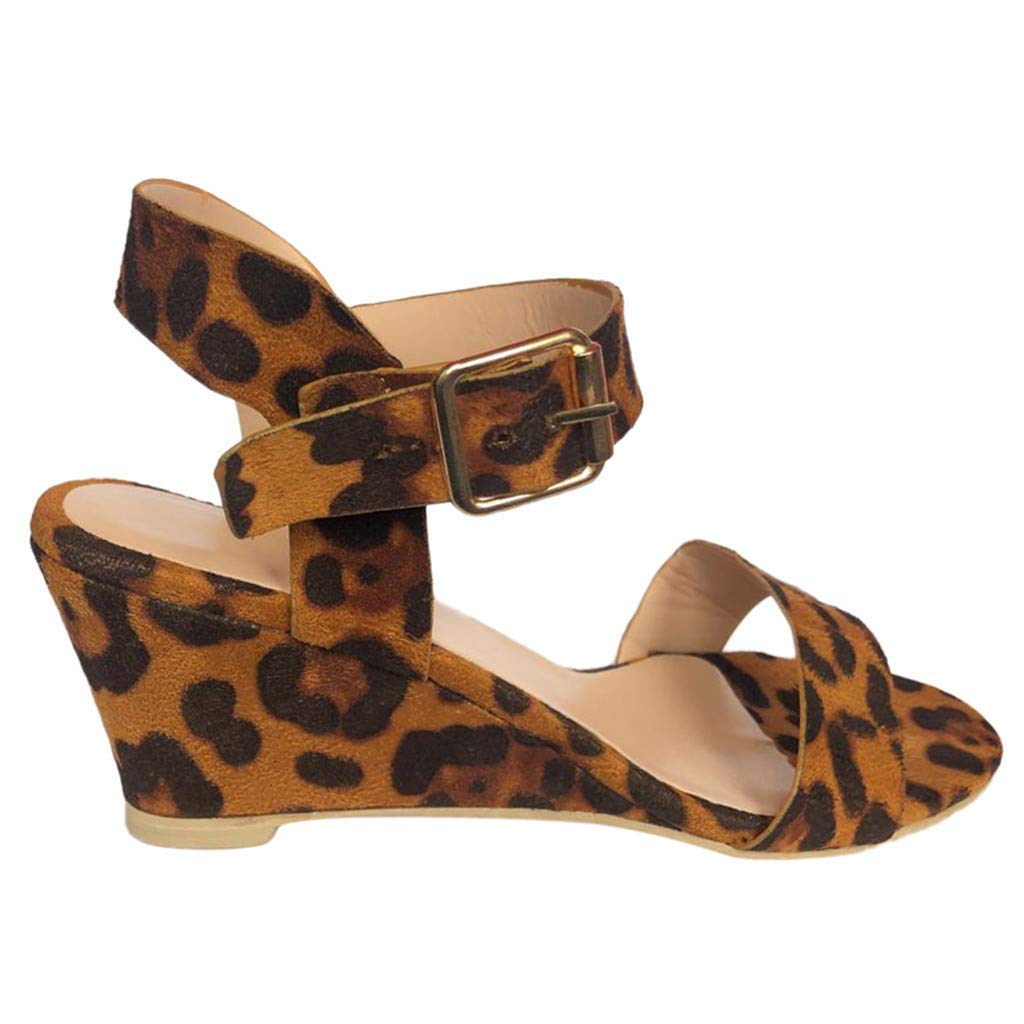 Thenxin Women's Fashion Leopard Wedges Heel Sandals Ladies Buckle Strap Roman Shoes (Beige,6.5 US)