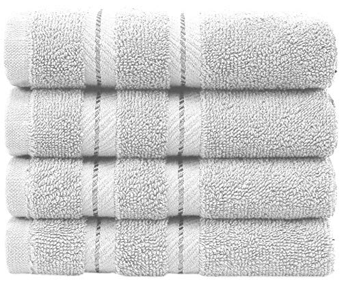 Premium, Turkish Towel Set, Luxury Hotel & Spa Towel Sets for Maximum Softness and Absorbency by American Soft Linen (4-Piece Washcloths, White)