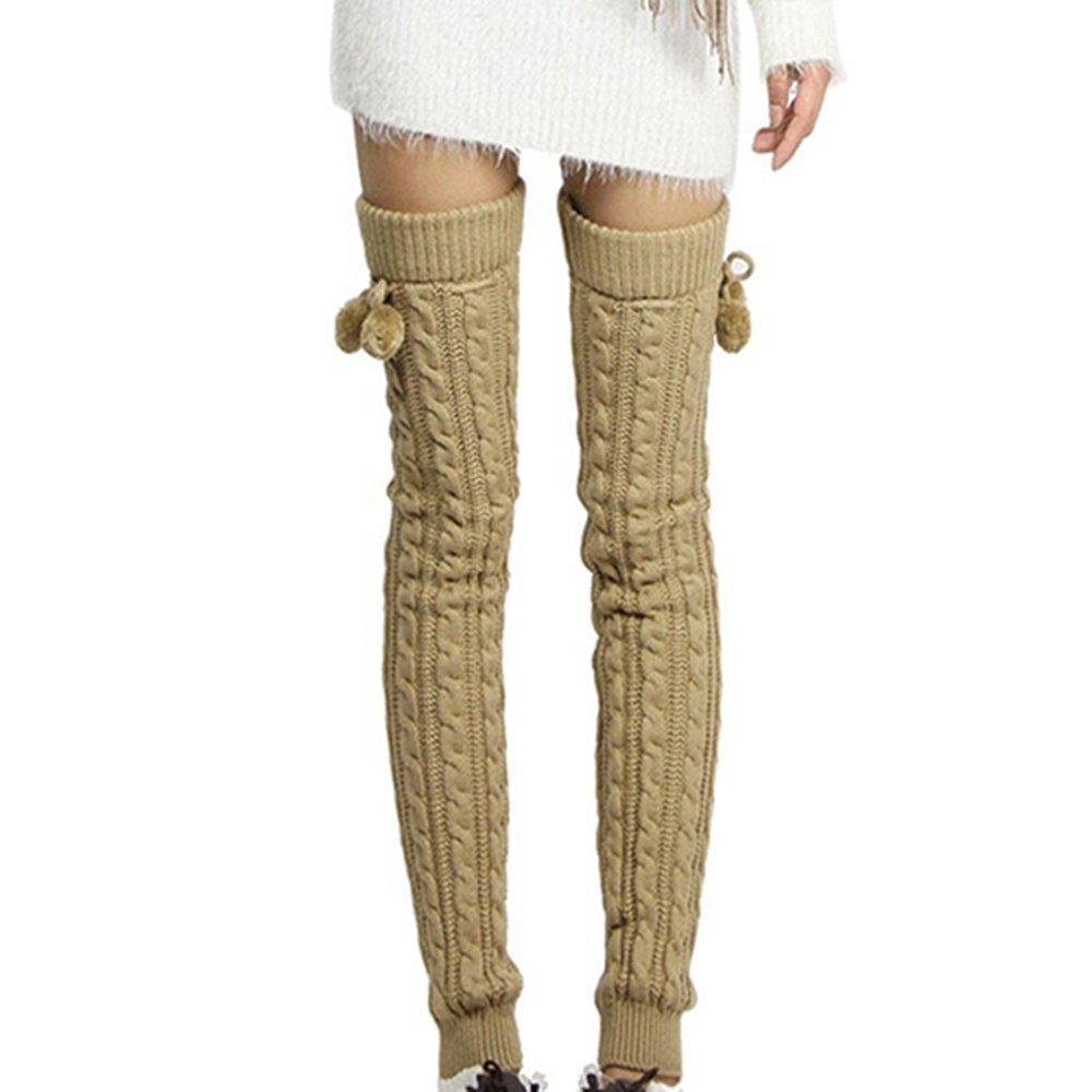 Alamana Winter Women's Knitted Footless Leg Warmers Thigh High Socks Stocking