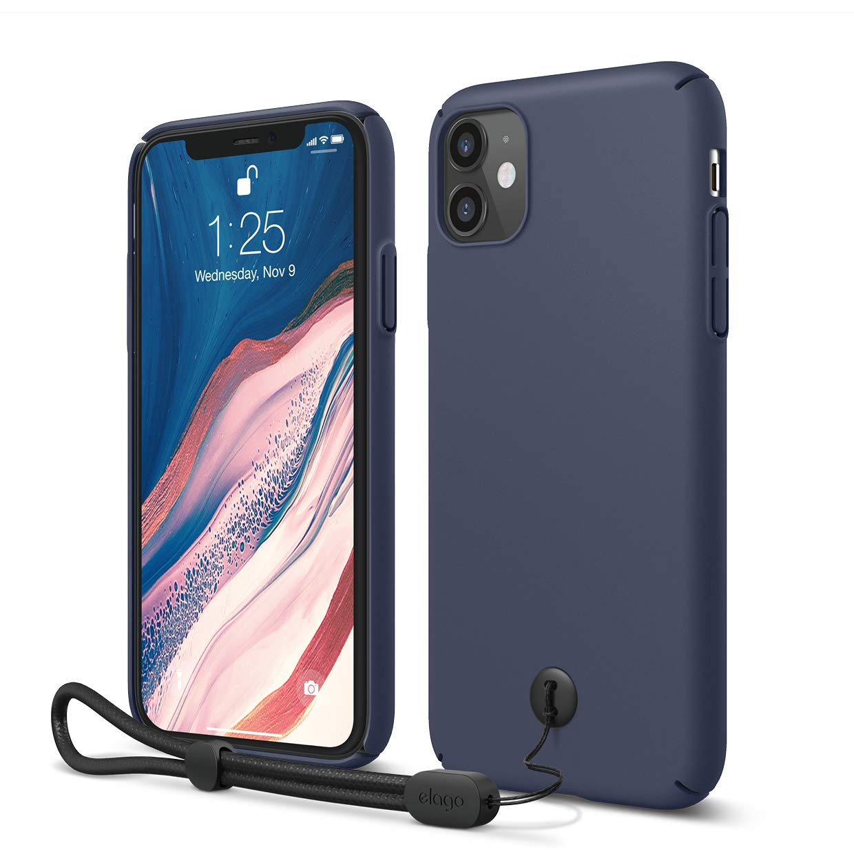 Simple Design 6.1 - Slim Light Red Raised Lip Attachable Strap and Button Anti-Slip Matte Coating elago Slim Fit Strap Case Compatible with iPhone 11
