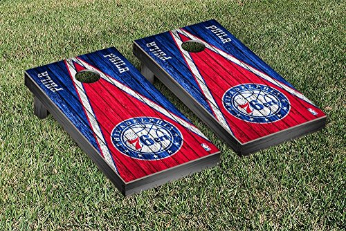 Philadelphia Sixers 76ers NBA Basketball Regulation Cornhole Game Set Triangle Weathered Version by Victory Tailgate