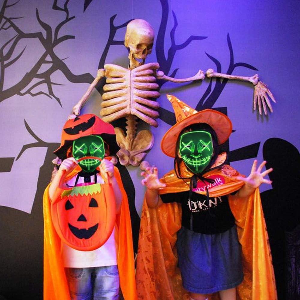 LED Light Cosplay Mask Halloween Frightening EL Light Up Luminous Glow Masks for Festival Dance Parties Costume Green