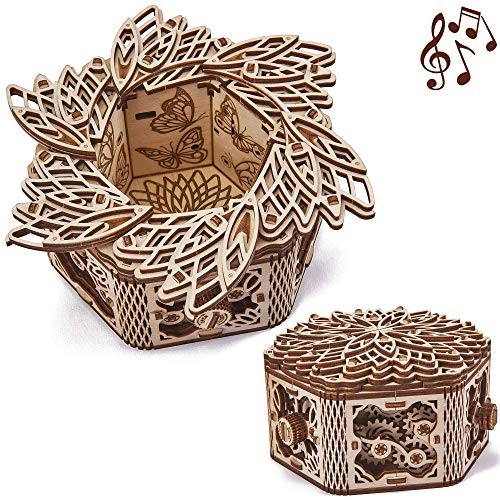 Wood Trick Mystery Flower Fur Elise Wooden Music Box Kit Keepsake Jewelry Box 3d Wooden Puzzle For Adults And Kids To Build Diy Pricepulse