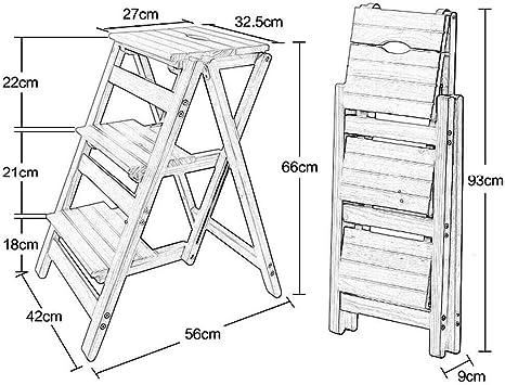 BBG Taburete, taburete plegable simple, taburete con escalera de madera de 3 escalones Sala de estar de dormitorio multifunción antideslizante 56 X 42 X 66 cm: Amazon.es: Bricolaje y herramientas