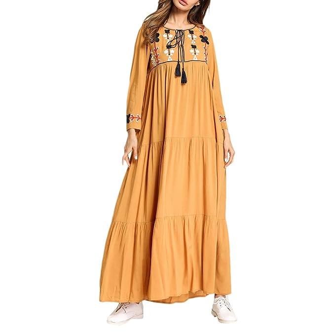 Zhhlinyuan Vestido de Kaftan de la Túnica Kaftan Maxi Estilo Vendimia árabe Suelta de Longitud Completa