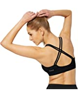 Baleaf Women's Light Support Cross Back Removable Pads Yoga Sports Bra