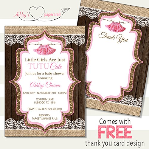 Amazon Tutu Cute Baby Shower Invitation Digital File Or