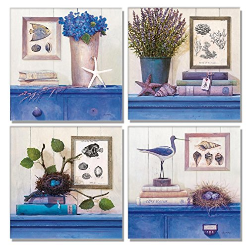 SmartWallArt - 4 Panel Large Size Similar Wall Art - Blue images Purple Lavender Bird Nest Eggs Quadrate Painting - 4 Panels Similar Picture Print on Canvas for Living Room Decor Or as A gift