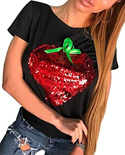 801aa798 Faithtur Strawberry Sequin T-Shirt Short Sleeve Casual Tee for Women Teen  Girls (US