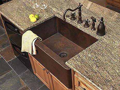 36u0026quot; Copper Farmhouse Sink   Fernanda Single ...