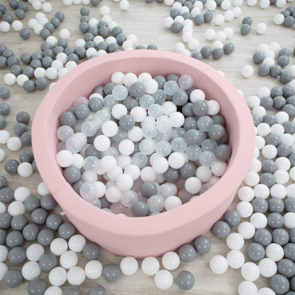 Chemical-Free Crush Proof Plastic Ocean Ball Pack of 100 Safe for Toddler Ball Pit// Kiddie Pool// Indoor Baby Playpen BPA Free with No Smell Grey, 2.16IN Wonder Space Soft Pit Balls
