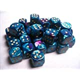 Chessex Dice d6 Sets: Gemini Purple & Teal with Gold - 12mm Six Sided Die (36) Block of Dice